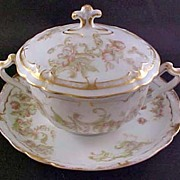 Haviland Limoges France Covered Bouillon Cup and Saucer