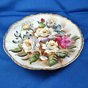 Hand-Painted Plate with Roses, Ucagco Ceramics, Japan, Signed