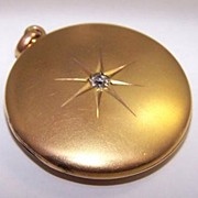 Edwardian 14K Gold & OMC Diamond Locket c1907