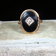 Vintage Black Onyx 10k Gold Ring
