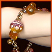 SALE Shades of Brown and Gold Bead Charm Bracelet