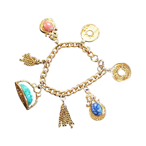Vintage Charm Bracelet with Fob, Asian Coins, and Tassels