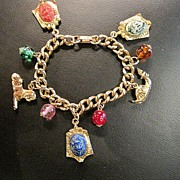 Vintage Charm Bracelet with  Egyptian Revival Charms