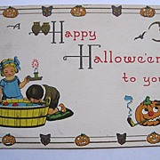 Vintage Bergman Halloween Postcard  No Writing