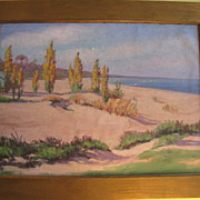 Vintage Painting Oil on Canvas  Beach Scene