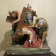 Stations of the Cross #3 - Antique Catholic Church Plaster Statue Jesus Falls for the First Ti