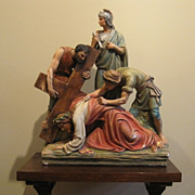 Stations of the Cross #7 - Antique Catholic Church Plaster Statue
