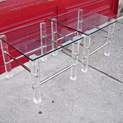 Mid-Century Lucite Chrome and Glass Pair of Side Tables