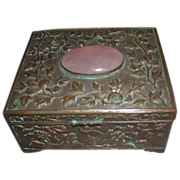 Chinese Bronze Box with Lotus Blossom Relief and Pink Stone