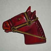 Bakelite Horse Head Brooch Pin