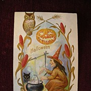 Unusual Halloween Postcard with Witches Brew and Owl and Corn