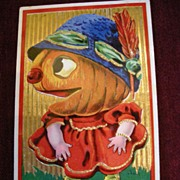 Halloween Postcard with Giant Pumpkin Head