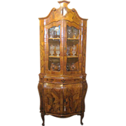 Italian Olivewood Bombe Corner Cabinet