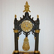 SOLD A French period C1870 Neo Gotic Bronze and Gilt,- Bronze Cathedral Clock