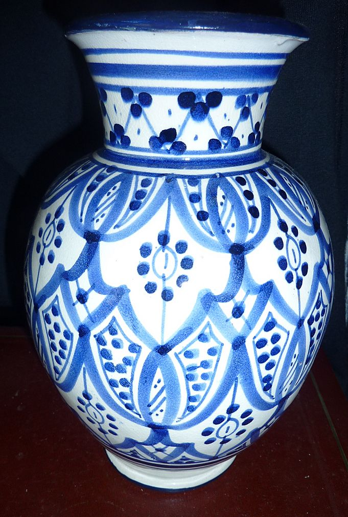 Very Old Blue And White Morrocan Vase Signed From