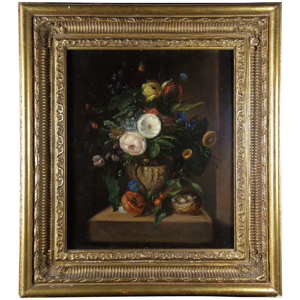 19th Century Dutch School Still Life Flowers Oil on Copper