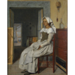 19th Century Continental School The Reluctant Model Oil on Canvas