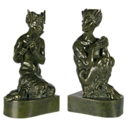 Sir Alfred Gilbert (British 1854�1934) A Pair of Bronze Sculptures of Fauns