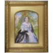 Augusta Samwell, Mrs. British fl.1831-1869 A Portrait Miniature of a Lady in a garden setting