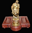 19th Century French Marble & Bronze Inkwell