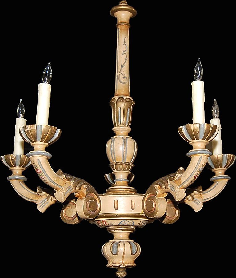 Decorative Painted French Chandelier