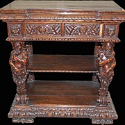 Handsome Carved Walnut Italian Console