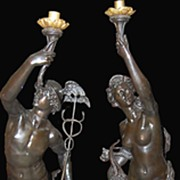 Pair if Antique Bronze Torchieres