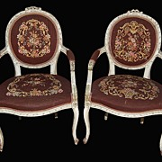 SALE Pair French Needlepoint Chairs