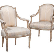 Pair French Painted Fauteuil