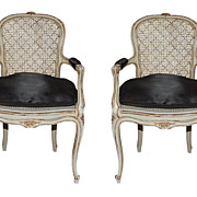 Pair Painted French Fauteuil