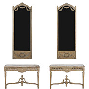 Pair Louis XVI Parcel Gilt Consoles & Mirrors