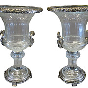 Exceptional Pair Large Silvered Bronze Baccarat Crystal Urns