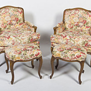 Pair French Chairs & Stools
