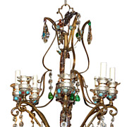 Decorative Iron & Crystal Chandelier