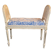 French Painted Caned Bench