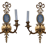 Pair Bronze Wedgwood Sconces