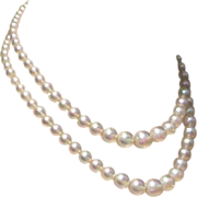Double Strand Iridescent Bead Necklace