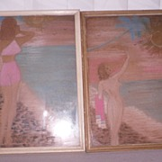 Signed Nude Pencil/Chalk Painting  SALE