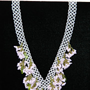 SALE Pink, Green and White Beaded Necklace