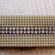 Vintage Trinket Box with Pearls and Rhinestones