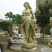 """Femme A La Rose"" Cast Stone Statue on Base (1 of 2 Available)"