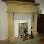 Gothic Limestone Fireplace Mantel from France