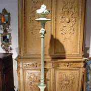 Antique Painted Cast Iron French Torchere, C. 1870