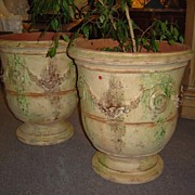 French Pair of Glazed Terra Cotta Provence Urns