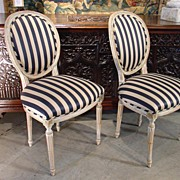 Pair of Parcel Painted Antique Louis XVI Style Medallion Side Chairs