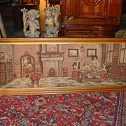 Antique French, Framed Machine Made Horizontal Tapestry