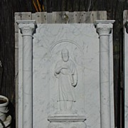Handcrafted Carrera Marble Plaque Featuring St. John the Evangelist