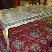 Antique French Painted Louis XV Style Dining Table with Faux Marble Top-1800's