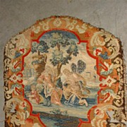 Rare 17th C. French Scenic Silk Tapestry with Needlepoint Border Chair Back Panel
