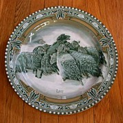 SOLD Buffalo Pottery Emerald Deldare Plate Wall Plaque Lost Stuart sgnd